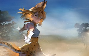 Rating: Safe Score: 23 Tags: animal_ears anthropomorphism blonde_hair bow catgirl dress elbow_gloves gloves kemono_friends serval short_hair sky summergoat tail tree yellow_eyes User: mattiasc02