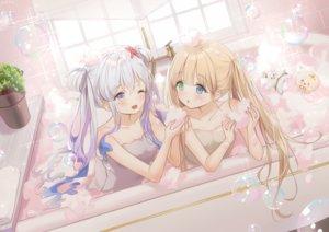 Rating: Safe Score: 70 Tags: 2girls bath bathtub bicolored_eyes blonde_hair bubbles gray_hair long_hair mullpull original signed towel twintails water wink yellow_eyes User: otaku_emmy