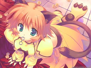 Rating: Safe Score: 85 Tags: animal_ears aqua_eyes catgirl fullani korone_koko_nekoko leaf mitsumi_misato orange_hair tail User: Oyashiro-sama