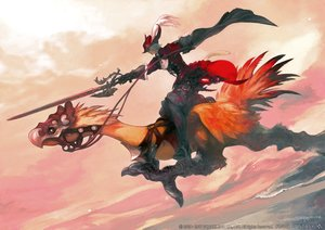 Rating: Safe Score: 48 Tags: all_male animal_ears boots catboy chocobo final_fantasy final_fantasy_xiv gloves gray_hair hat male miqo'te red_mage square_enix sword tagme_(artist) tail watermark weapon User: SciFi