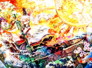 Rating: Safe Score: 54 Tags: blue_eyes cis_(carcharias) flowers hat japanese_clothes long_hair mononobe_no_futo ribbons sword touhou weapon white_hair User: FormX