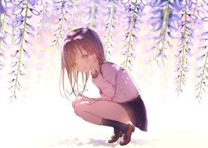 Rating: Safe Score: 34 Tags: brown_eyes brown_hair flowers kneehighs original shiromi skirt User: FormX