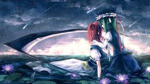Rating: Safe Score: 60 Tags: flowers green_hair kieta long_hair onozuka_komachi red_hair scythe shiki_eiki sky touhou twintails water weapon User: Tensa