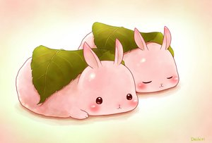 Rating: Safe Score: 40 Tags: animal blush daikichi_(pixiv13506351) food leaves original pink rabbit signed sleeping User: otaku_emmy