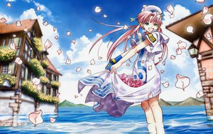 Rating: Safe Score: 27 Tags: aria building dress flowers green_eyes hat long_hair mizunashi_akari petals pink_hair rose scenic sky twintails water User: Kulag