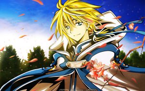 Rating: Safe Score: 9 Tags: blonde_hair blue_eyes clamp fay_d_flourite flowers petals short_hair tsubasa_reservoir_chronicle User: Maboroshi
