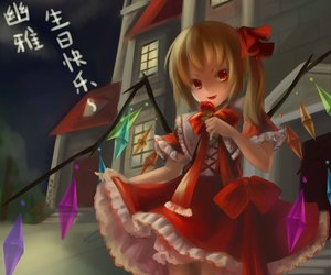Rating: Safe Score: 47 Tags: blonde_hair fang flandre_scarlet lolita_fashion nanairo red_eyes short_hair touhou translation_request vampire wings User: SciFi