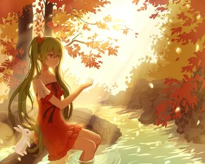 Rating: Safe Score: 117 Tags: animal dress green_eyes green_hair hatsune_miku lan_jue leaves polychromatic rabbit tree twintails vocaloid water User: humanpinka