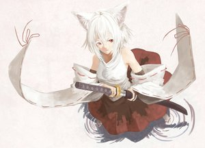 Rating: Safe Score: 63 Tags: animal_ears inubashiri_momiji japanese_clothes katana red_eyes seu_(hutotomomo) sword tail thighhighs touhou weapon white_hair wolfgirl User: STORM