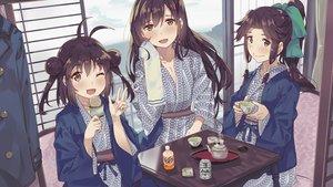 Rating: Safe Score: 46 Tags: anthropomorphism brown_hair drink food japanese_clothes jintsuu_(kancolle) kantai_collection long_hair naka_(kancolle) orange_eyes ponytail sendai_(kancolle) short_hair tonari_no_kai_keruberosu towel wink yukata User: otaku_emmy