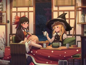 Rating: Safe Score: 35 Tags: blonde_hair braids brown_eyes brown_hair drink food fruit goback hakurei_reimu hat horns ibuki_suika kirisame_marisa kotatsu long_hair night orange_(fruit) red_eyes snow touhou witch witch_hat User: あかり