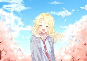 Rating: Safe Score: 25 Tags: blonde_hair blush clouds long_hair miyazono_kaori miyo_(user_zdsp7735) petals school_uniform shigatsu_wa_kimi_no_uso sky tie User: RyuZU