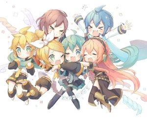 Rating: Safe Score: 25 Tags: blonde_hair blue_eyes blue_hair blush boots brown_hair cat_smile green_eyes group hatsune_miku headphones kagamine_len kagamine_rin kaito long_hair male megurine_luka meiko niwako pink_hair ponytail short_hair shorts skirt thighhighs tie vocaloid wink User: RyuZU