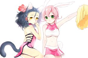 Rating: Safe Score: 79 Tags: animal_ears black_hair bunnygirl catgirl crossover diarmuid_ua_duibhne_(fate) fate_(series) fate/stay_night fate/zero flowers green_eyes hakusai iii pink_hair rose short_hair skirt tail yellow_eyes yu-gi-oh User: Maboroshi