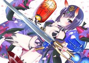 Rating: Safe Score: 48 Tags: breasts demon domo1220 fate/grand_order fate_(series) horns navel petals pink_eyes short_hair shuten_douji_(fate) sword weapon User: RyuZU