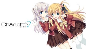 Rating: Safe Score: 119 Tags: 2girls blonde_hair blue_eyes blush bow charlotte gray_hair hizuki_yayoi logo long_hair nishimori_yusa school_uniform skirt thighhighs tomori_nao twintails white User: Stealthbird97