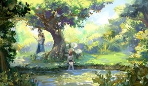 Rating: Safe Score: 55 Tags: achyue animal_ears bow_(weapon) braids brown_hair long_hair male original pixiv_fantasia purple_eyes scenic tree water weapon User: RyuZU