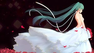 Rating: Safe Score: 53 Tags: dress flowers hatsune_miku long_hair petals rose sfive twintails vocaloid wedding_attire User: Flandre93