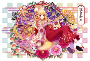 Rating: Safe Score: 47 Tags: animal animal_ears bell blonde_hair butterfly fan flowers foxgirl japanese_clothes kasugaya kimono long_hair original red_eyes socks tail User: otaku_emmy