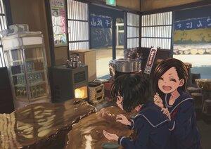 Rating: Safe Score: 19 Tags: black_hair brown_hair drink food michinoku_(hiking_miusan18) original school_uniform short_hair User: mattiasc02