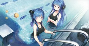 Rating: Safe Score: 105 Tags: anthropomorphism azur_lane blue_hair breast_hold breasts cleavage cropped helena_(azur_lane) long_hair manjuu_(azur_lane) pool purple_eyes scan senji_(tegone_spike) st._louis_(azur_lane) swimsuit water User: Nepcoheart