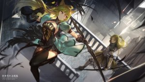 Rating: Safe Score: 165 Tags: animal_ears atalanta_(fate) blonde_hair bow_(weapon) chiron fate/apocrypha fate_(series) fate/stay_night gloves long_hair male swd3e2 thighhighs weapon User: Flandre93