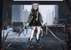Rating: Safe Score: 46 Tags: animal_ears arknights building city gray_eyes gray_hair lappland_(arknights) long_hair shorts sword tagme_(artist) tail weapon User: BattlequeenYume