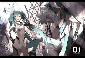 Rating: Safe Score: 36 Tags: aqua_eyes aqua_hair bodysuit crossover hatsune_miku long_hair mecha neon_genesis_evangelion nine_(liuyuhao1992) skintight twintails vocaloid User: Flandre93