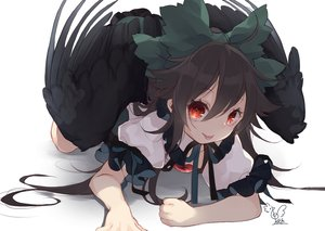 Rating: Safe Score: 56 Tags: black_hair close long_hair red_eyes reiuji_utsuho signed touhou toutenkou wings User: RyuZU