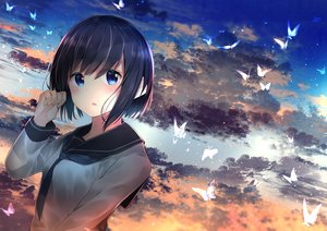 Rating: Safe Score: 93 Tags: aqua_eyes black_hair blush butterfly clouds neku_(neku_draw) original school_uniform short_hair sky sunset User: BattlequeenYume