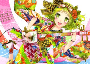 Rating: Safe Score: 56 Tags: blush flowers goggles green_eyes green_hair gumi instrument japanese_clothes kanipanda kimono short_hair vocaloid User: FormX