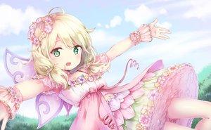 Rating: Safe Score: 55 Tags: blonde_hair clouds dress grass green_eyes idolmaster idolmaster_cinderella_girls loli ribbons short_hair sky todo-akira twintails wings yusa_kozue User: RyuZU
