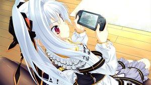 Rating: Safe Score: 117 Tags: dress game_cg game_console miyama-zero nanakase_kotoko nekonade_distortion red_eyes white_hair User: Wiresetc