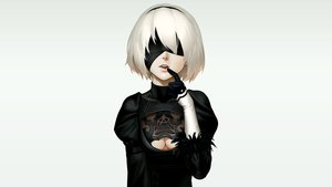 Rating: Safe Score: 55 Tags: as109 blindfold breasts cleavage dress gloves headband nier nier:_automata see_through short_hair white_hair yorha_unit_no._2_type_b User: Hakha