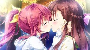 Rating: Safe Score: 83 Tags: asakura_chihiro ensemble_(company) game_cg kiss long_hair male natsume_akari otome_ga_irodoru_koi_no_essence red_hair tagme_(artist) trap User: FormX