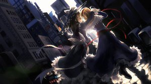 Rating: Safe Score: 66 Tags: 2girls alice_margatroid archlich blonde_hair boots dress hat jpeg_artifacts kirisame_marisa ribbons short_hair shoujo_ai touhou witch yellow_eyes User: Tensa