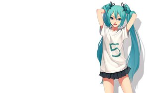 Rating: Safe Score: 230 Tags: blue_eyes blue_hair bow fkey hatsune_miku jpeg_artifacts long_hair skirt twintails vocaloid white User: Eaglebeak