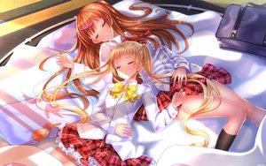 Rating: Safe Score: 132 Tags: 2girls blonde_hair bow brown_hair chuunibyou_demo_koi_ga_shitai! dekomori_sanae kneehighs long_hair nibutani_shinka skirt sleeping swordsouls twintails User: Flandre93
