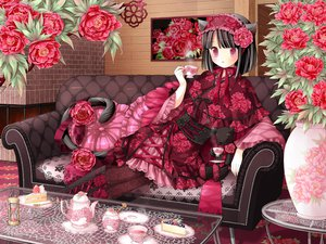 Rating: Safe Score: 114 Tags: akatsuki_no_kemono animal_ears black_hair blush cake catgirl corset couch flowers food japanese_clothes kanzaki_miku kuroinu lolita_fashion short_hair yukata User: Tensa
