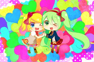 Rating: Safe Score: 17 Tags: chibi hatsune_miku heart kagamine_rin temari_(deae) vocaloid User: MissBMoon