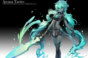Rating: Safe Score: 51 Tags: applecaramel_(acaramel) arcana_tactics bodysuit cropped dark_skin gloves gradient green_eyes green_hair long_hair magic pointed_ears sword thighhighs underboob weapon User: otaku_emmy