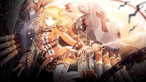 Rating: Safe Score: 85 Tags: anthropomorphism azur_lane blonde_hair boots dress halloween orange_eyes prince_of_wales_(azur_lane) pumpkin short_hair sword tagme_(artist) thighhighs weapon User: luckyluna