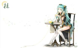 Rating: Safe Score: 58 Tags: aqua_eyes aqua_hair chinese_clothes chinese_dress drink elbow_gloves gloves hatsune_miku kyod+ long_hair signed thighhighs twintails vocaloid User: RyuZU