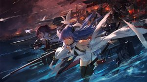 Rating: Safe Score: 76 Tags: admiral_hipper_(azur_lane) animal anthropomorphism azur_lane bicolored_eyes bird black_hair blonde_hair blue_hair brown_hair dress elbow_gloves gloves group horns ibuki_(azur_lane) izumo_(azur_lane) long_hair roon_(azur_lane) swd3e2 thighhighs water watermark User: RyuZU
