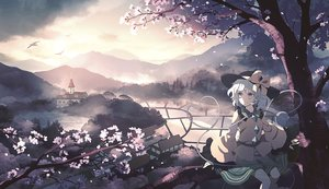 Rating: Safe Score: 36 Tags: bow building cherry_blossoms clouds dise flowers gray_eyes gray_hair hat komeiji_koishi landscape petals scenic short_hair skirt sky torii touhou tree water User: RyuZU
