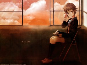 Rating: Safe Score: 56 Tags: book brown_eyes brown_hair glasses itou_noiji nagato_yuki school_uniform signed suzumiya_haruhi_no_yuutsu User: Oyashiro-sama