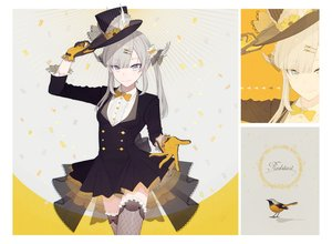 Rating: Safe Score: 80 Tags: animal bird bow dress gloves gray_hair hat long_hair o-ishi original thighhighs yellow_eyes zoom_layer User: otaku_emmy