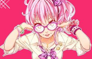 Rating: Safe Score: 88 Tags: bow glasses hato_haru idolmaster idolmaster_cinderella_girls jougasaki_mika necklace pink_hair ponytail short_hair yellow_eyes User: C4R10Z123GT