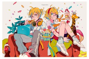 Rating: Safe Score: 39 Tags: bandaid blonde_hair bunny candy coca_cola computer drink food glasses headband headphones kagamine_len kagamine_rin lollipop makoji_(yomogi) male pizza ponytail ribbons short_hair shorts socks vocaloid wristwear User: otaku_emmy
