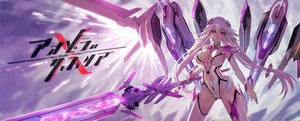 Rating: Safe Score: 70 Tags: bodysuit breasts cameltoe cleavage elbow_gloves gloves hanshu long_hair mechagirl navel original purple_eyes sword thighhighs twintails weapon white_hair User: BattlequeenYume